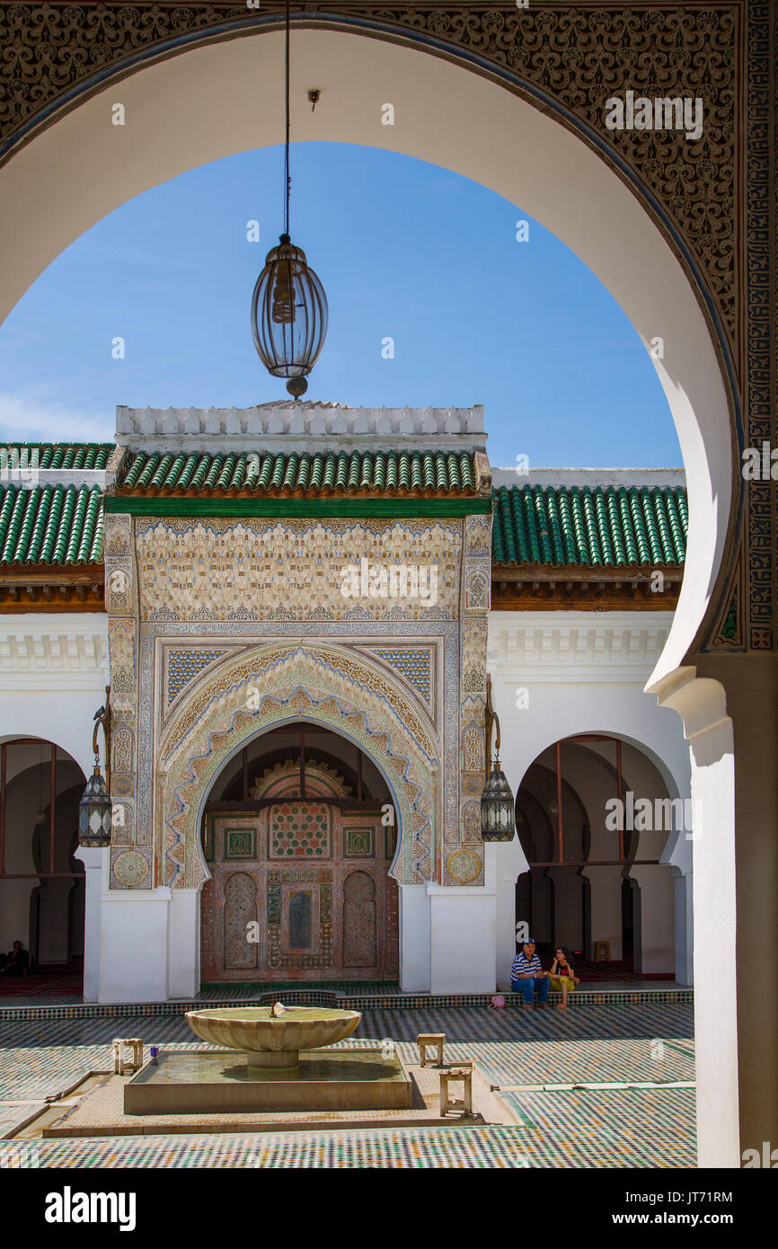 Al-Qarawiyyin or al-Karaouine mosque and university. Souk Medina of Fez, Fes el Bali. Morocco, Maghreb North Africa - Stock Image