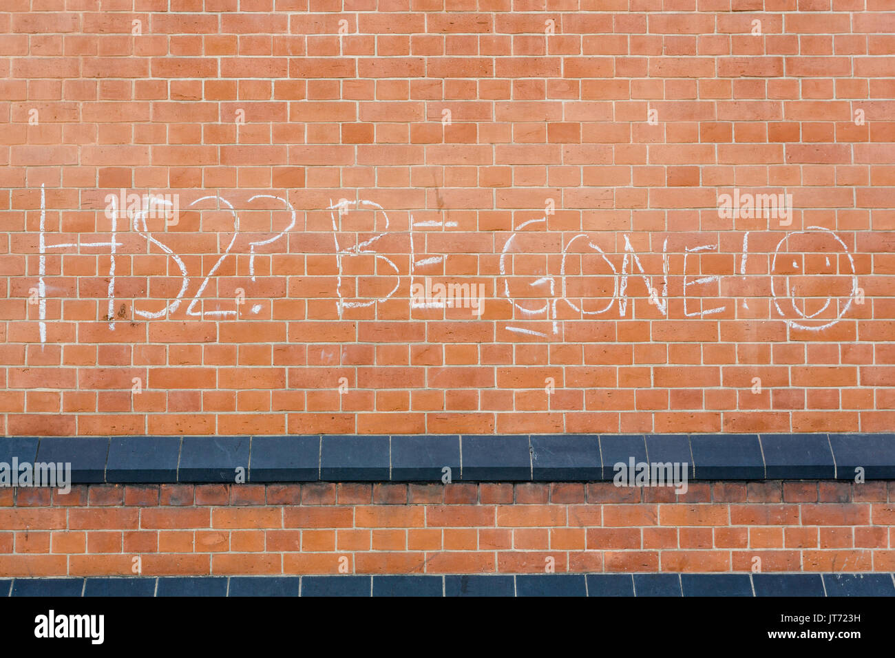 HS2 protest graffiti, King's Cross, London Stock Photo