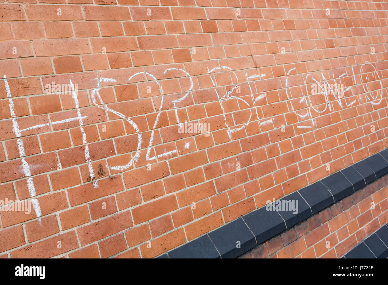 HS2 protest graffiti, King's Cross, London - Stock Image