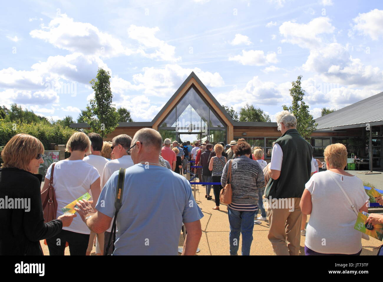 Queues at the admissions building, RHS Garden Hyde Hall Flower Show 2017, Chelmsford, Essex, England, Great Britain, United Kingdom, UK, Europe - Stock Image