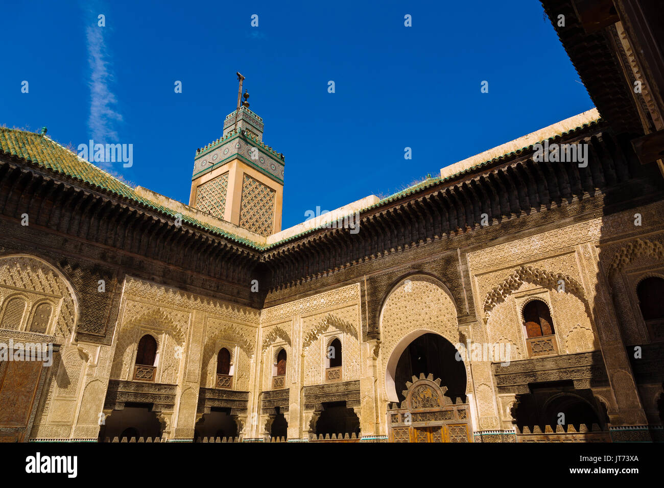 The Madrasa Bou Inania or Medersa Bu Inaniya.Souk Medina of Fez, Fes el Bali. Morocco, Maghreb North Africa Stock Photo