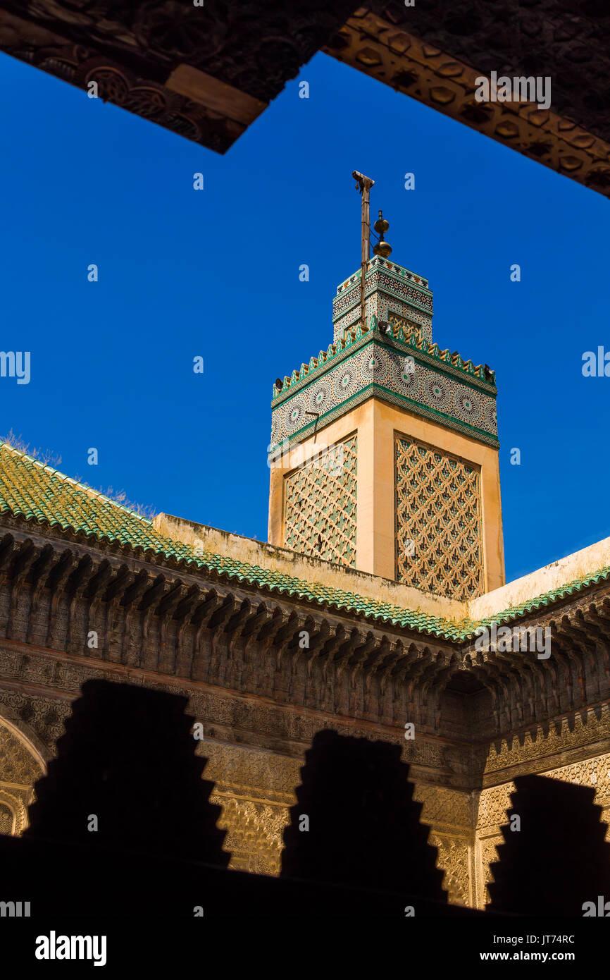 The Madrasa Bou Inania or Medersa Bu Inaniya.Souk Medina of Fez, Fes el Bali. Morocco, Maghreb North Africa - Stock Image