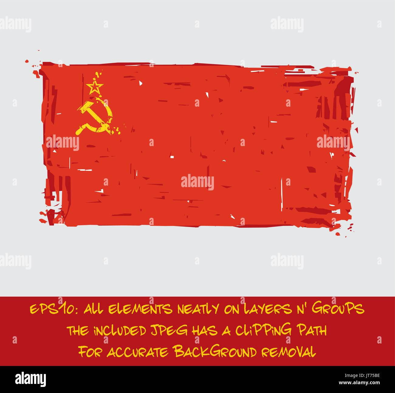 Soviet Union Flat Flag - Vector Artistic Brush Strokes and Splashes. Grunge Illustration, all elements neatly on layers and groups. The JPEG has a cli - Stock Image