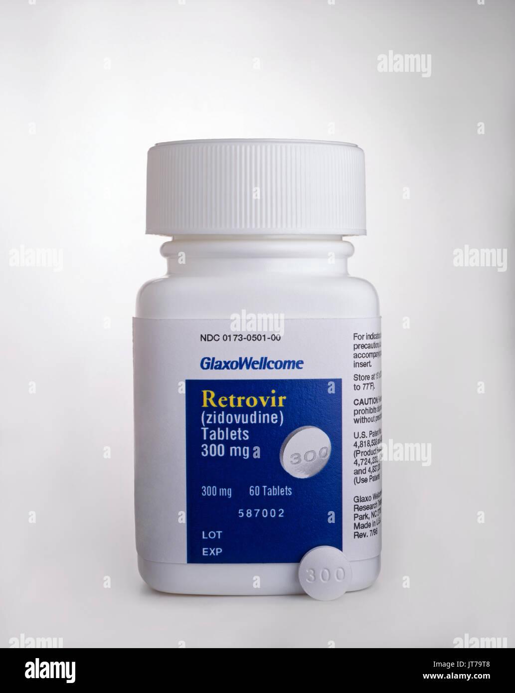 The drug Retrovir an HIV anti viral - Stock Image