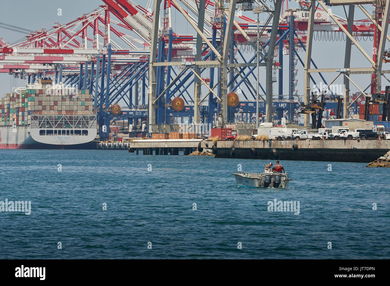 Sports Fishermen Fishing In The Long Beach Container Terminal, California. - Stock Image