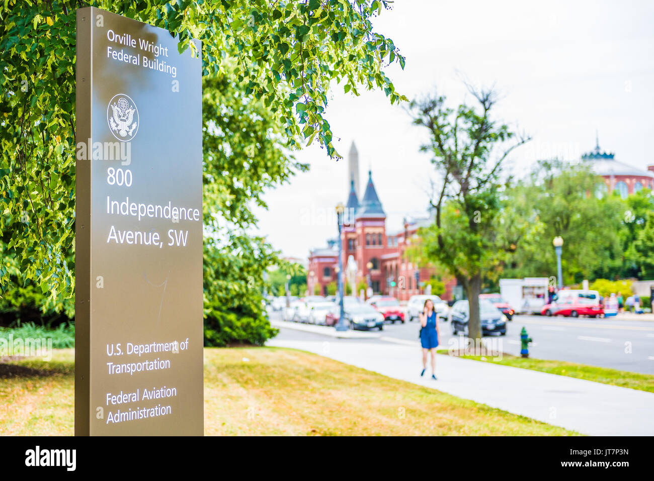 Washington DC, USA - July 3, 2017: US Department of Transportation and Federal Aviation Administration signs headquarters at Orville Wright building o - Stock Image