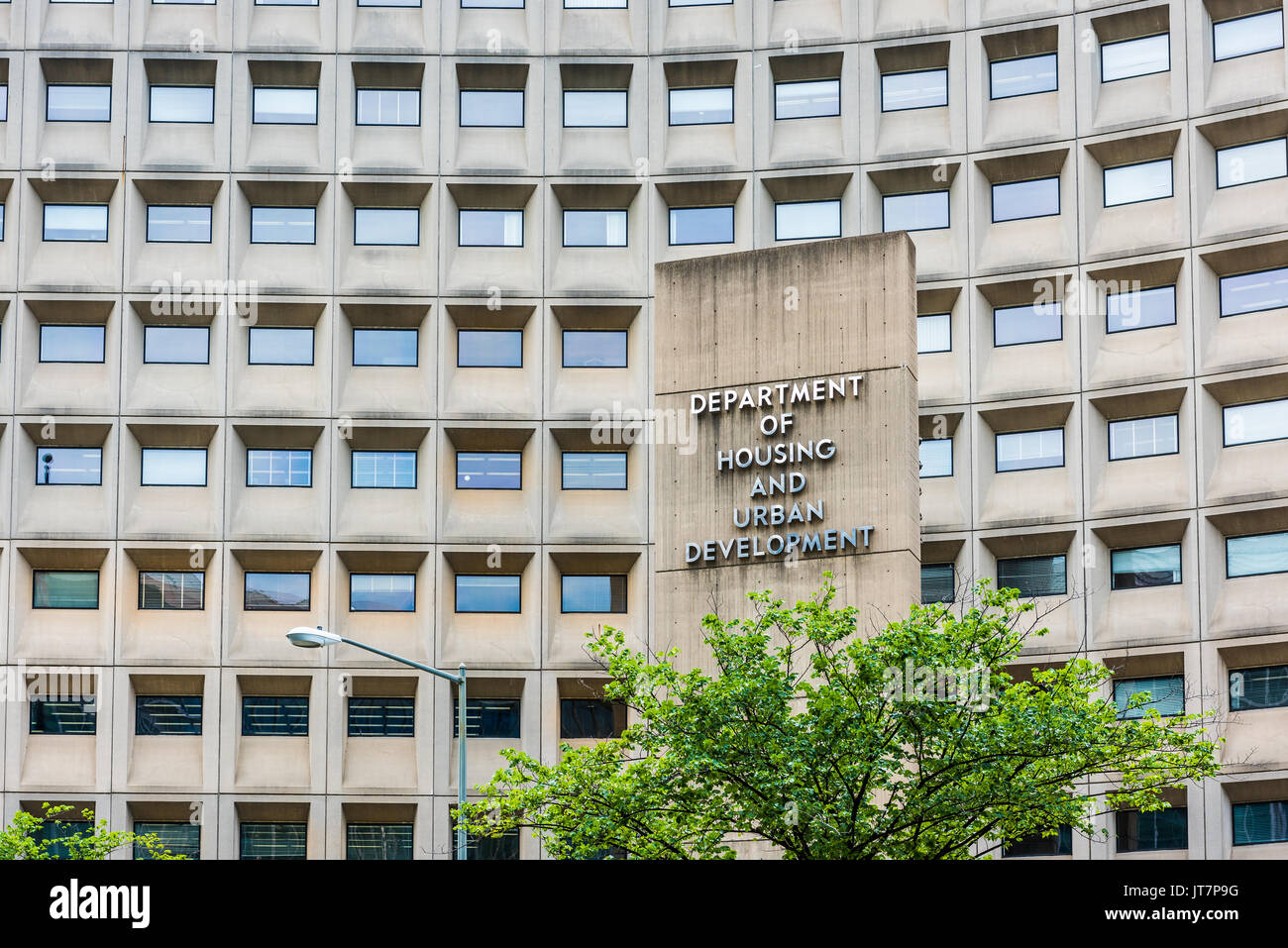 Washington DC, USA   July 3, 2017: Department Of Housing And Urban  Development In Downtown With Closeup Of Sign And Building Windows