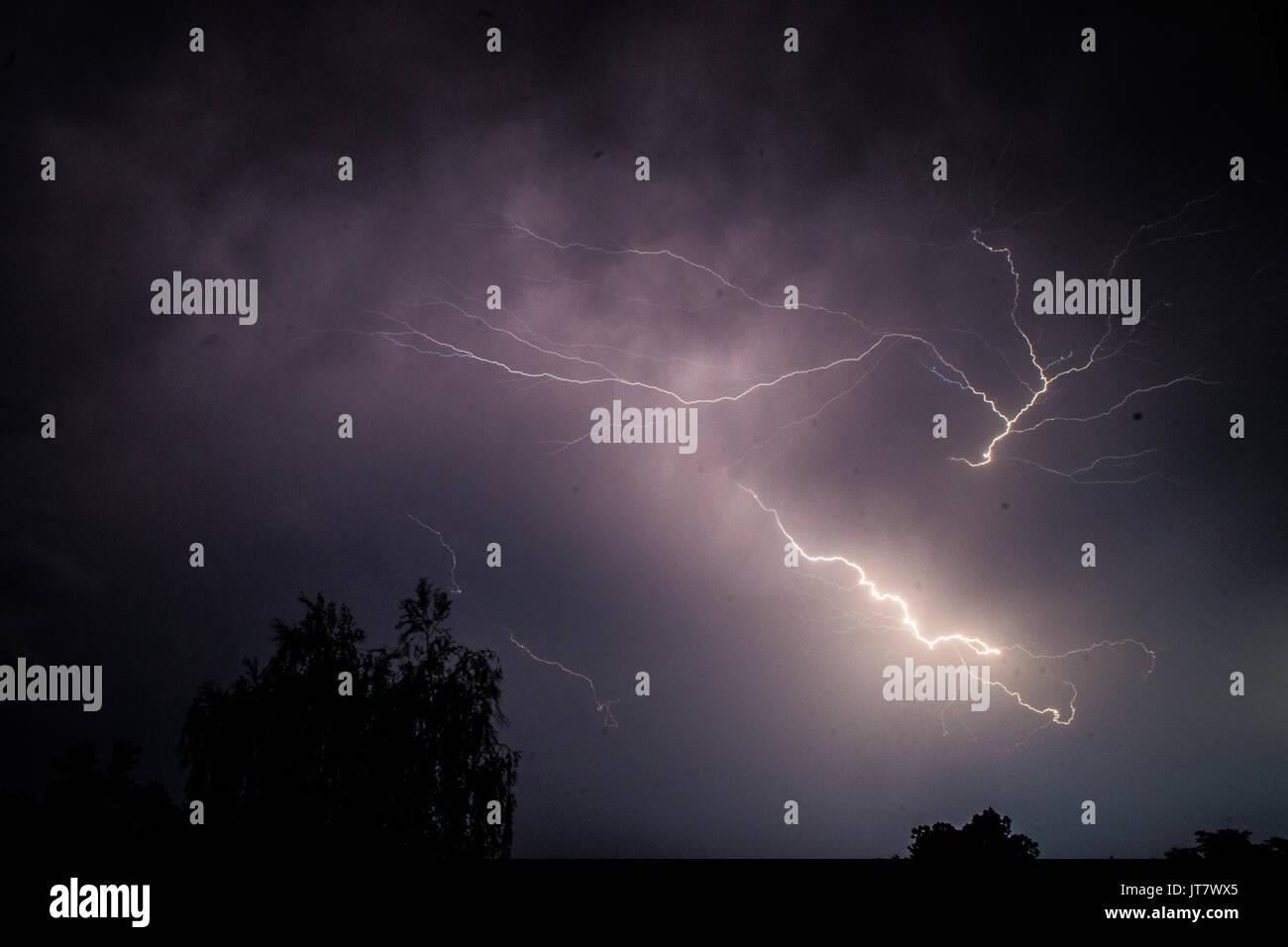 Lightning under Ljubljana Stock Photo