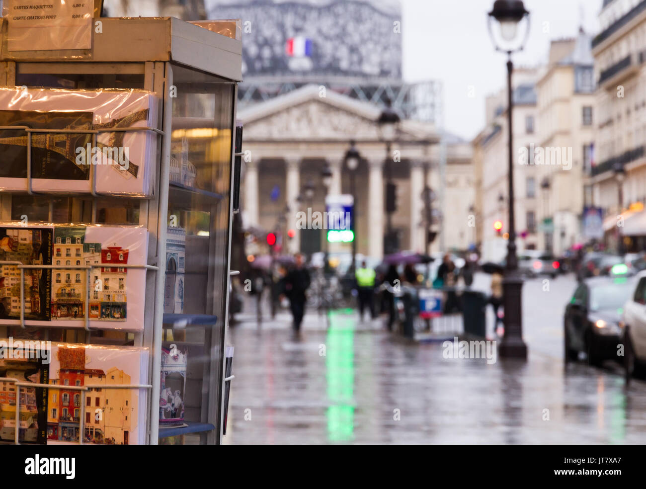 Touristic view at the city: Paris near the Pantheon with