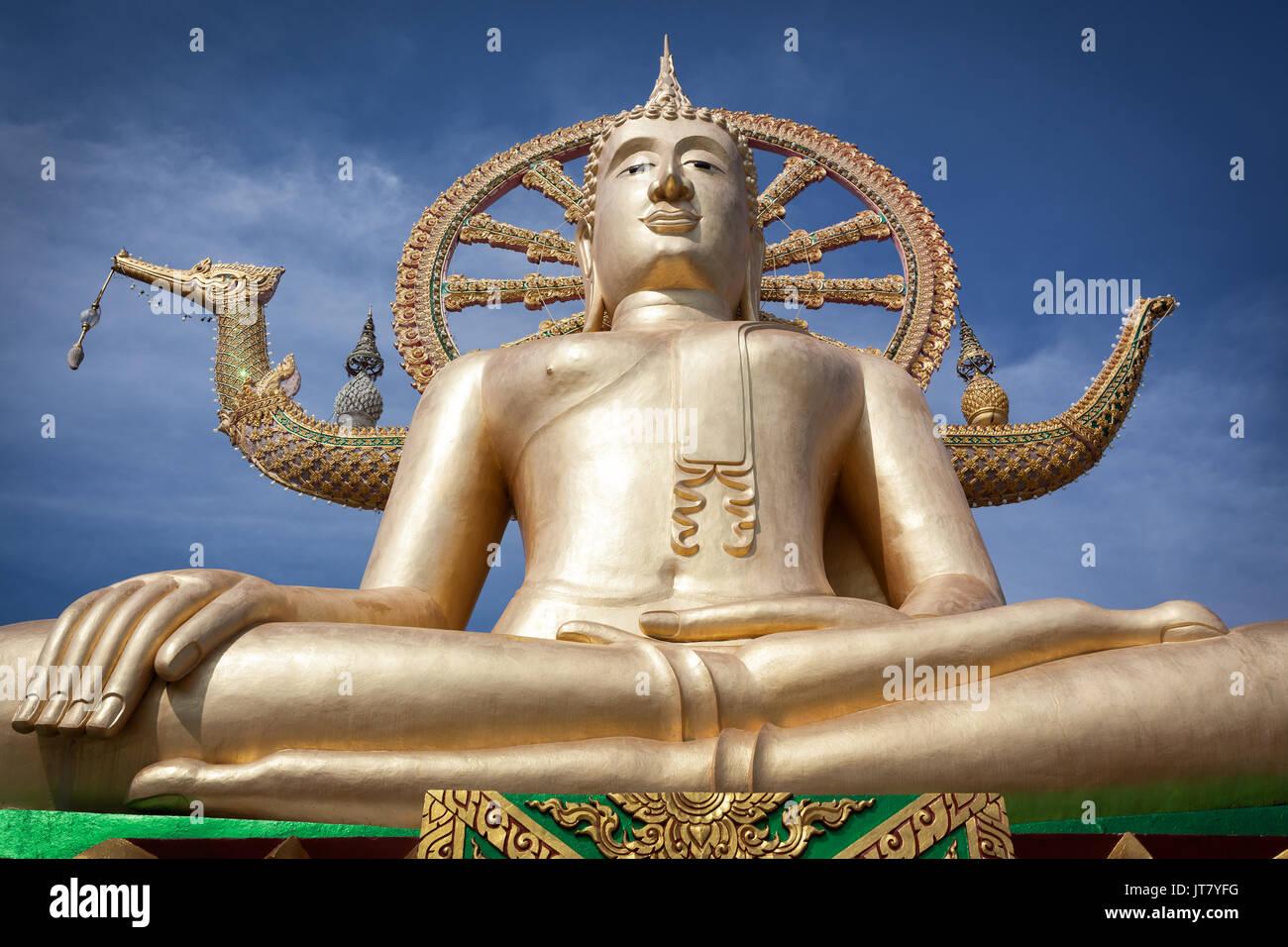 Big Buddha temple or Wat Phra Yai in Kho Samui island, Thailand - Stock Image