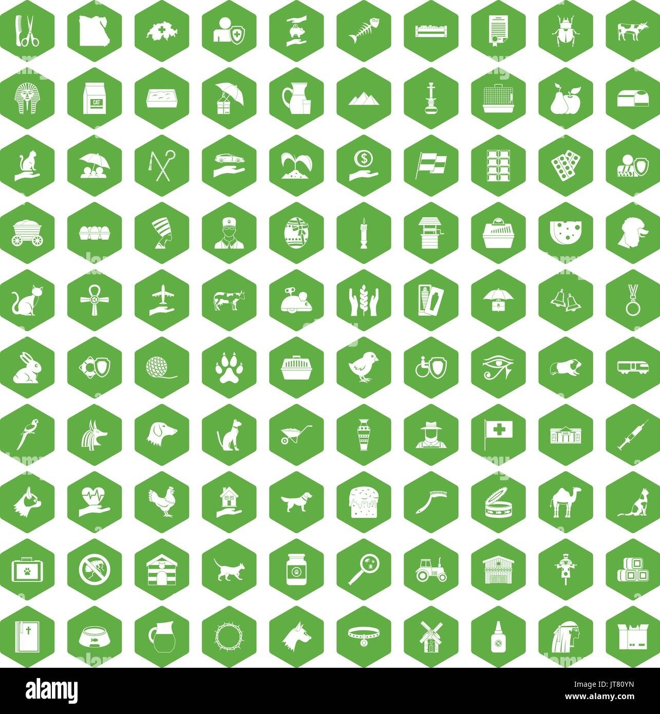 100 pets icons hexagon green - Stock Image