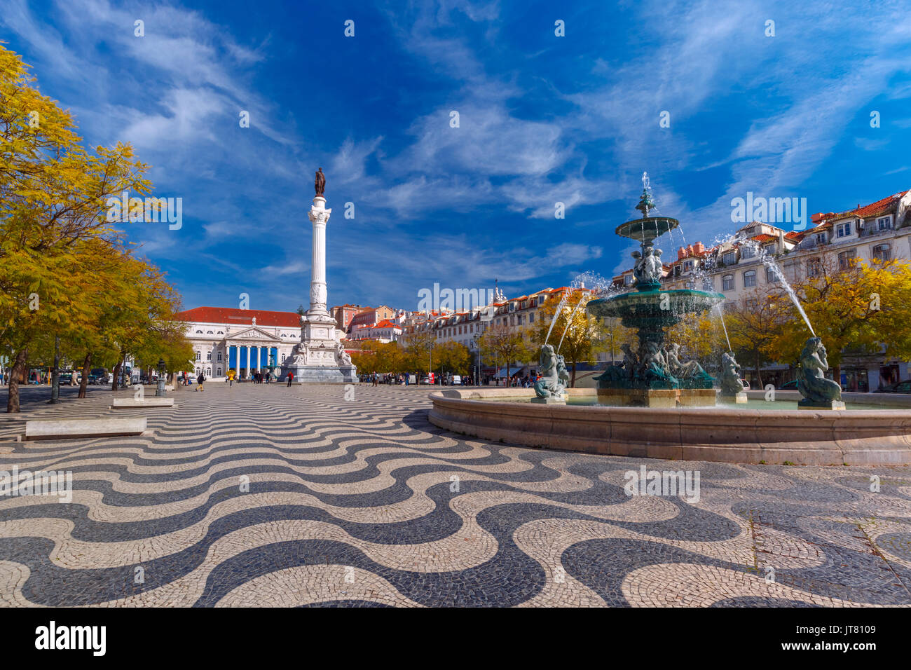 Rossio square with wavy pattern, Lisbon, Portugal - Stock Image