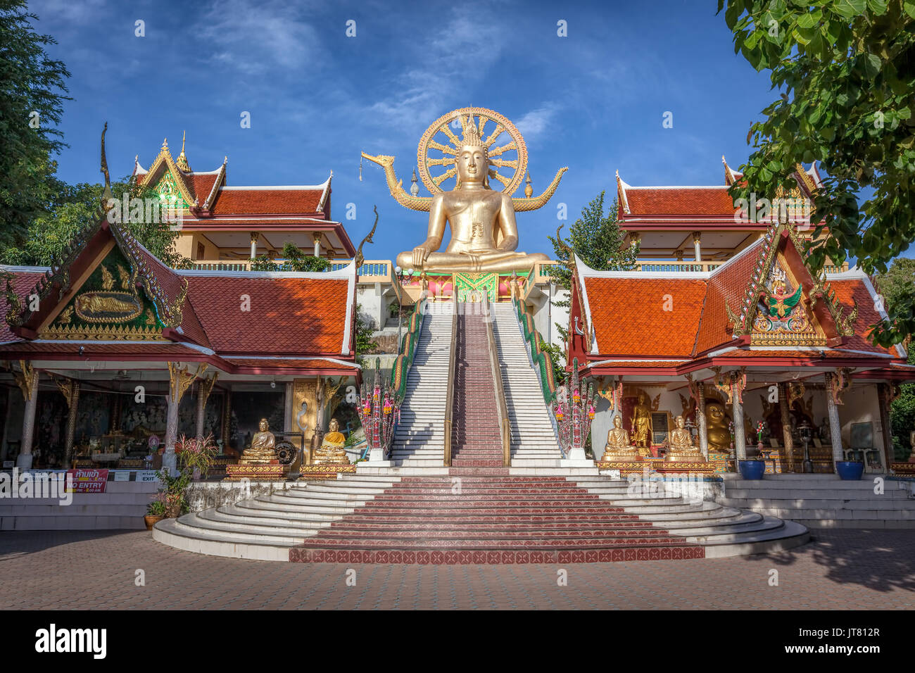 Big Buddha temple or Wat Phra Yai in Kho Samui island, Thailand - Stock Image