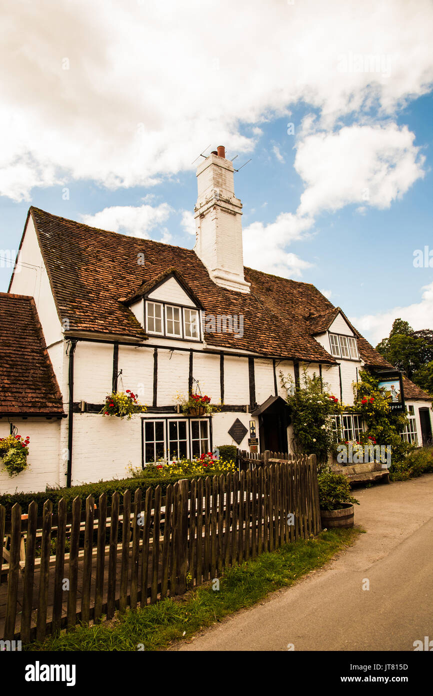 The Bull and Butcher pub in the tranquil village of Turville in the Chiltern hills Buckinghamshire the setting  for many episodes of Midsomer Murders - Stock Image