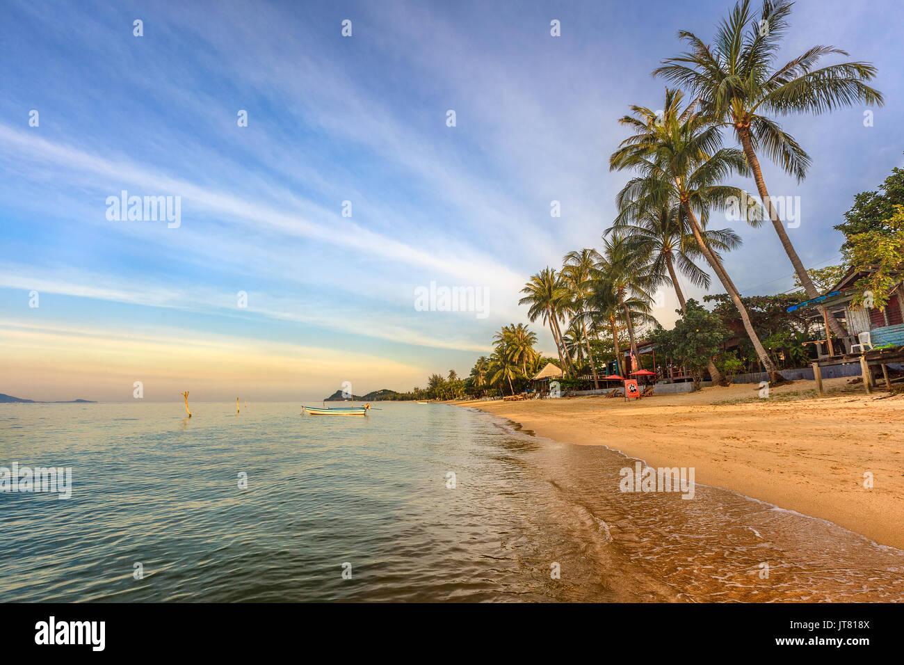 Bang Po Beach sunset in Koh Samui island, Thailand - Stock Image