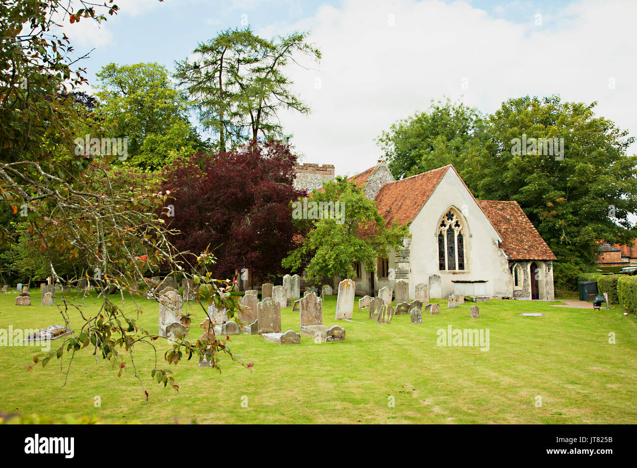 St Marys parish church in the Chilterns village of Turville  Buckinghamshire the setting for the tv series the vicar of Dibley staring Dawn French - Stock Image