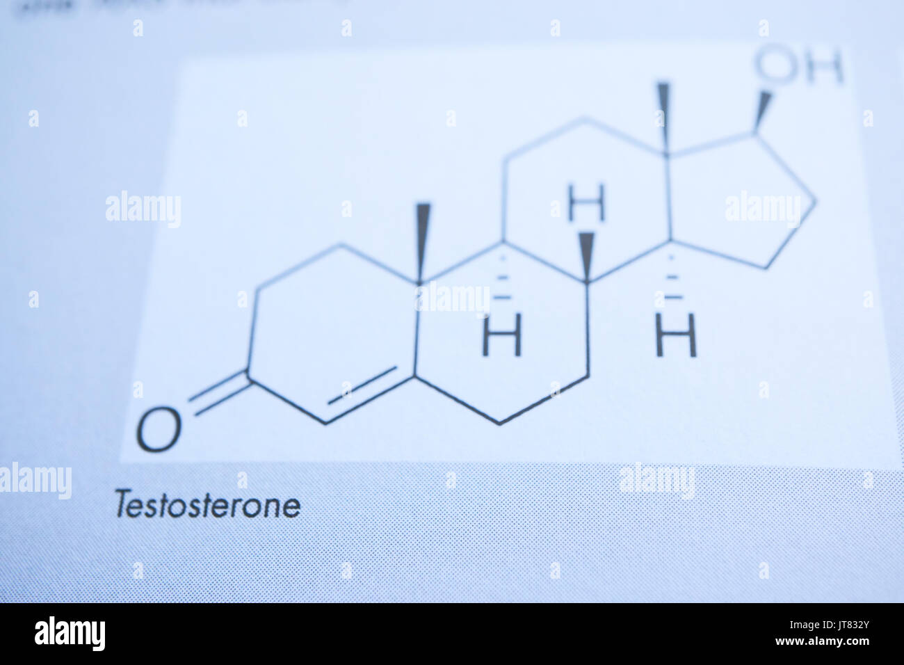 chemical formulation of mans hormone testosterone in graphical view. closeup shot - Stock Image
