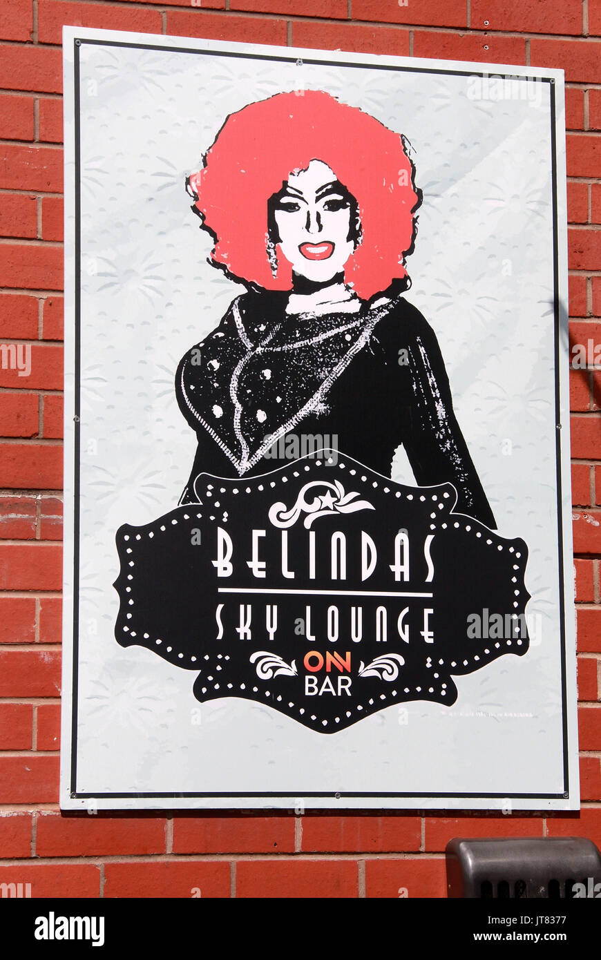 Belindas Bar sign in Manchesters Gay Village - Stock Image