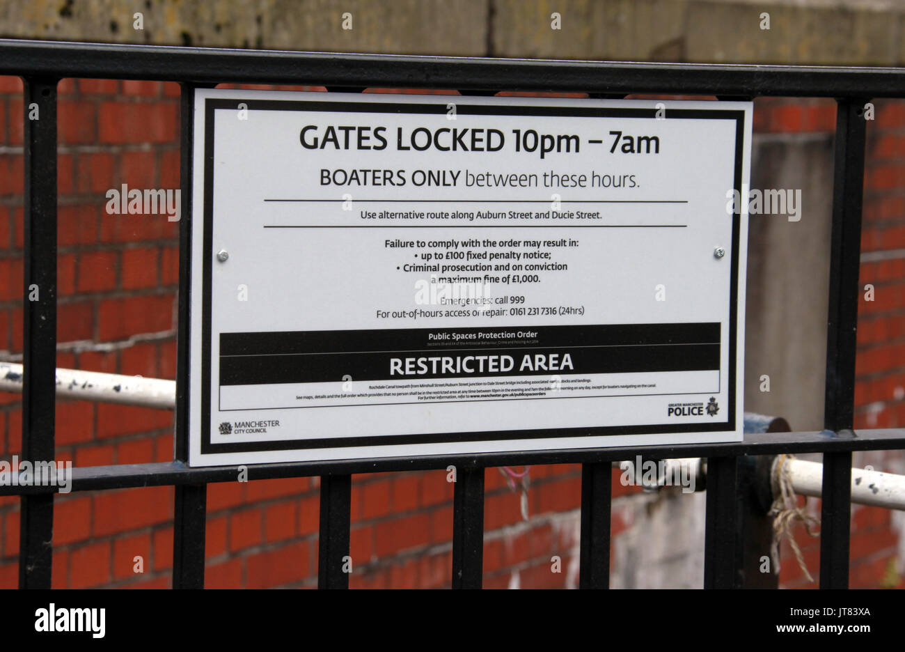 Rochdale Canal restricted area sign in Manchester City Centre - Stock Image