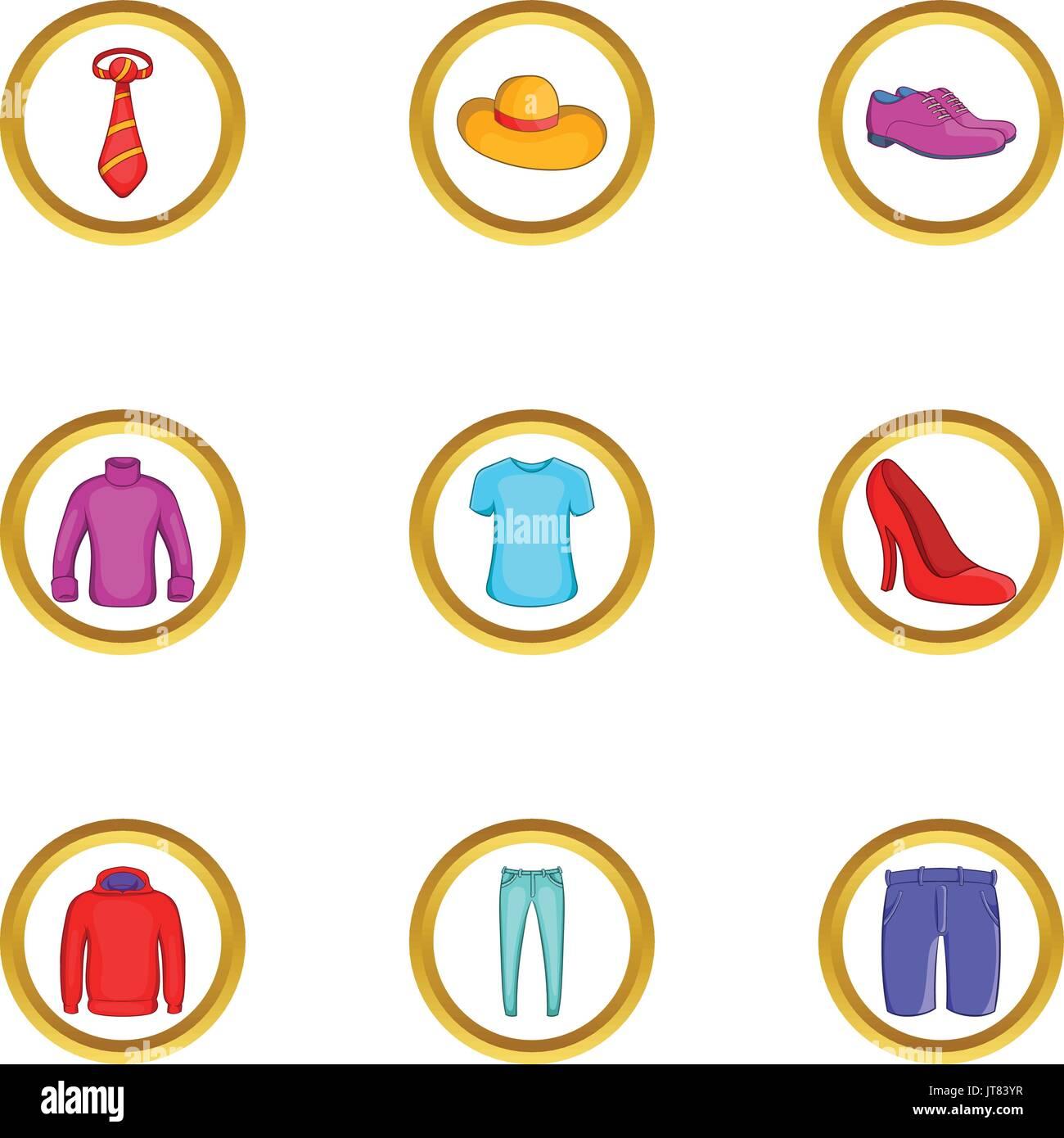 Clothes icon set, cartoon style - Stock Vector