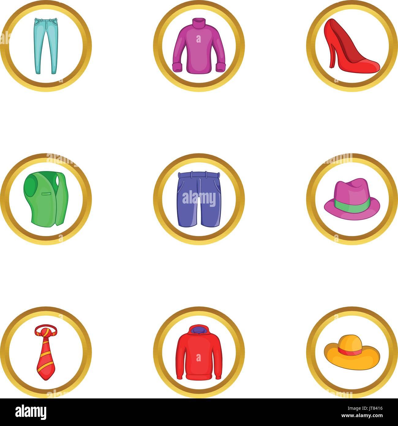 Modern clothes icon set, cartoon style - Stock Vector