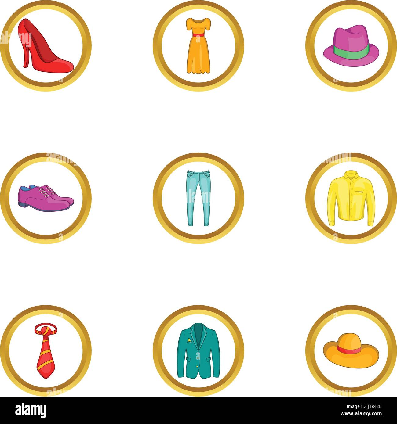 Classic clothes icon set, cartoon style - Stock Vector