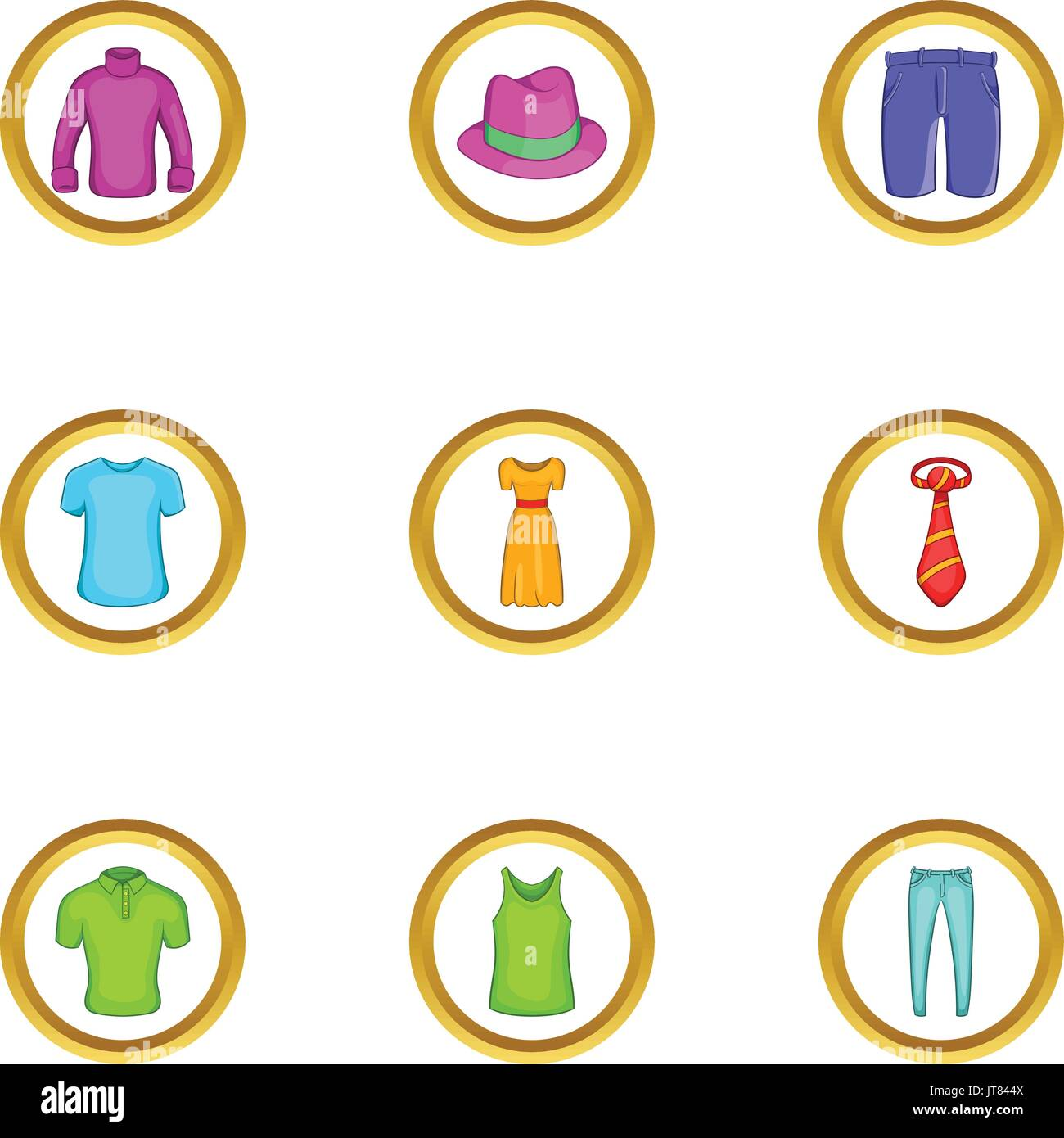 Summer clothes icon set, cartoon style - Stock Vector