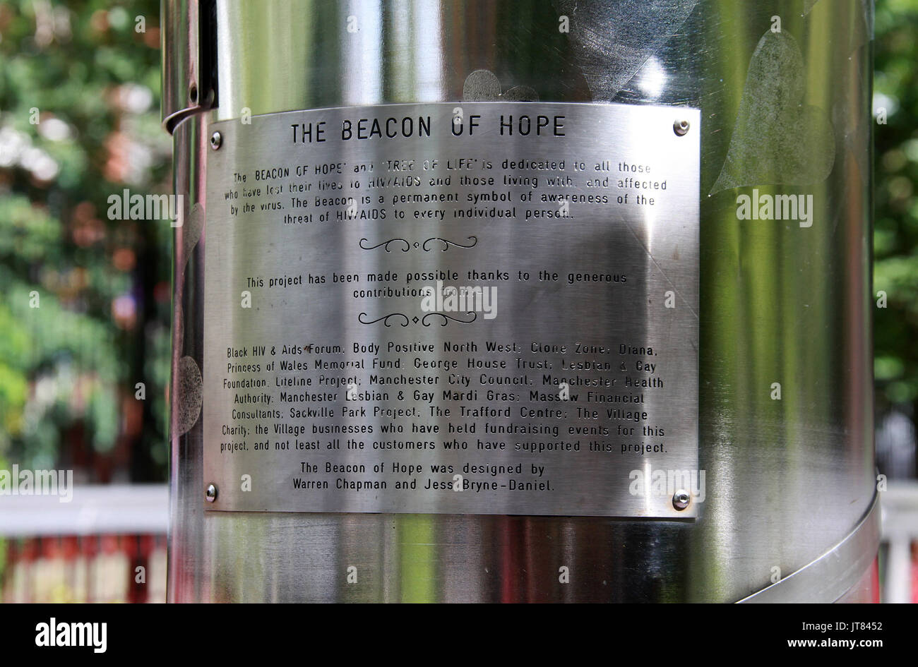Plaque on the Beacon of Hope at Sackville Park in Manchester - Stock Image