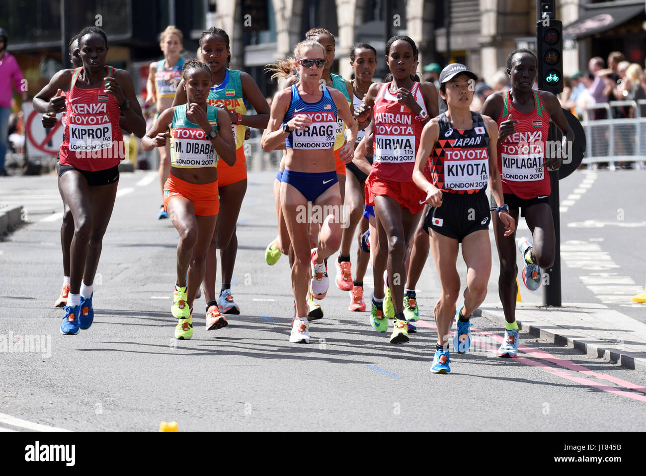 Women running in the IAAF World Championships 2017 Marathon race in London, UK. Space for copy - Stock Image