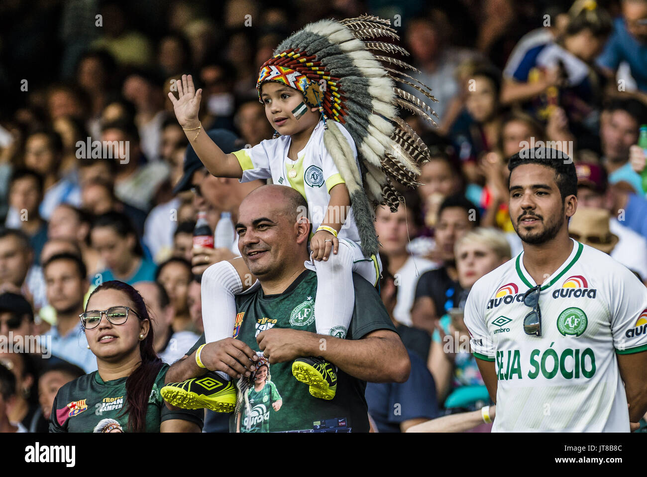 Barcelona, Catalonia, Spain. 7th Aug, 2017. Fans of Chapecoense are pictured prior to the 52nd Joan Gamper Trophy at the Camp Nou stadium in Barcelona Credit: Matthias Oesterle/ZUMA Wire/Alamy Live News - Stock Image