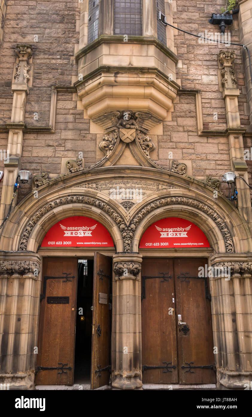 Edinburgh, Scotland, UK, August 7th 2017.   A Fringe Festival venue, Assembly Roxy in a converted Victorian Church, formerly Lady Glenochy's Parish Church - Stock Image