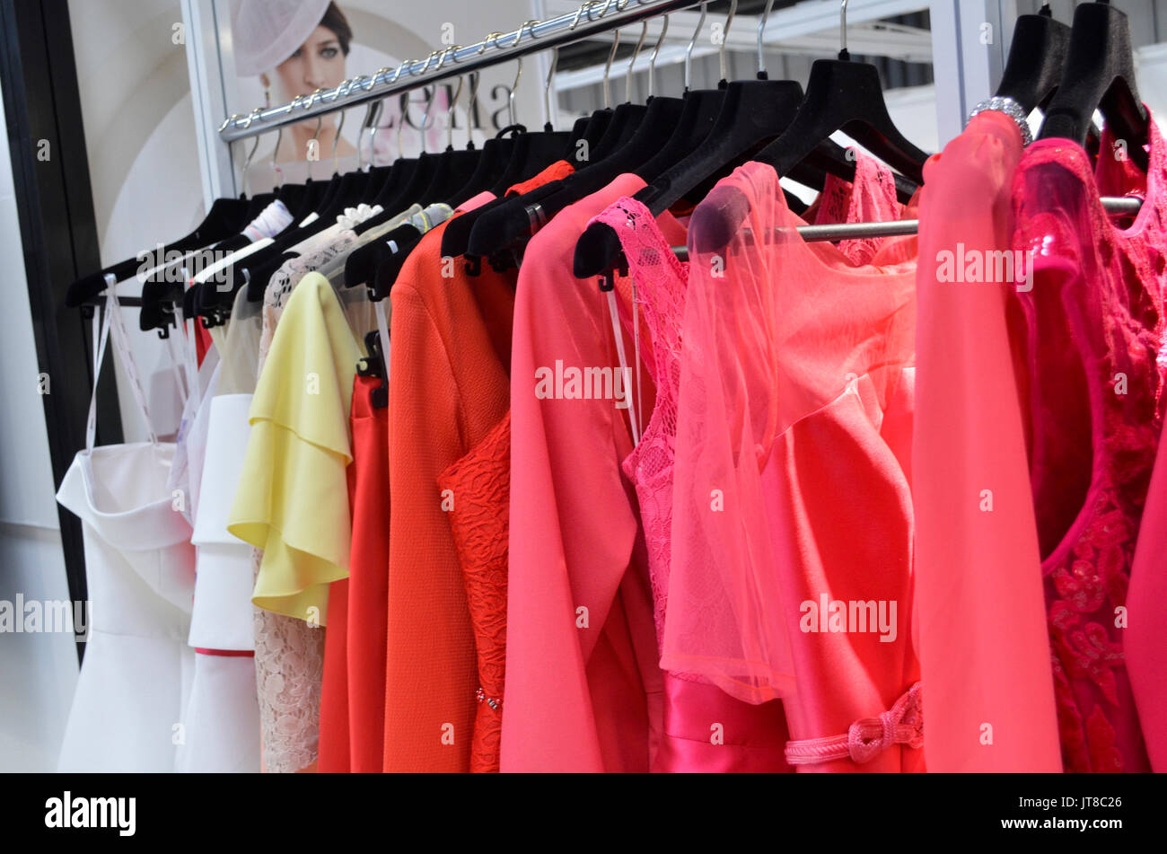 Clothes rail display at Moda. Moda, Britain's largest trade exhibition for fashion buyers, runs between 6th-8th August 2017 at the NEC, Birmingham, UK. Credit: Antony Nettle/Alamy Live News - Stock Image