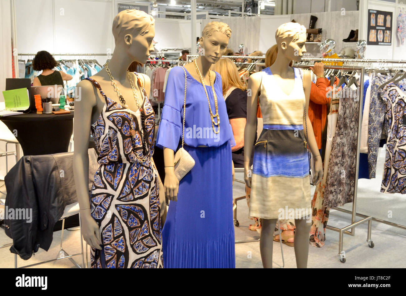 Birmingham, UK. 07th Aug, 2017. Mannequins at Moda. Moda, Britain's largest trade exhibition for fashion buyers, runs between 6th-8th August 2017 at the NEC, Birmingham, UK. Featuring daily catwalks, business talks by industry and social media experts, and hundreds of trade stands, Moda encompasses womenswear, menswear, footwear, and accessories for national and international fashion buyers. High visistor numbers and brisk trade were reported across both the first and second days of the show with many brands premiering their Spring Summer 2018 ranges. 7th August 2017. Credit: Antony Nettle/Ala - Stock Image