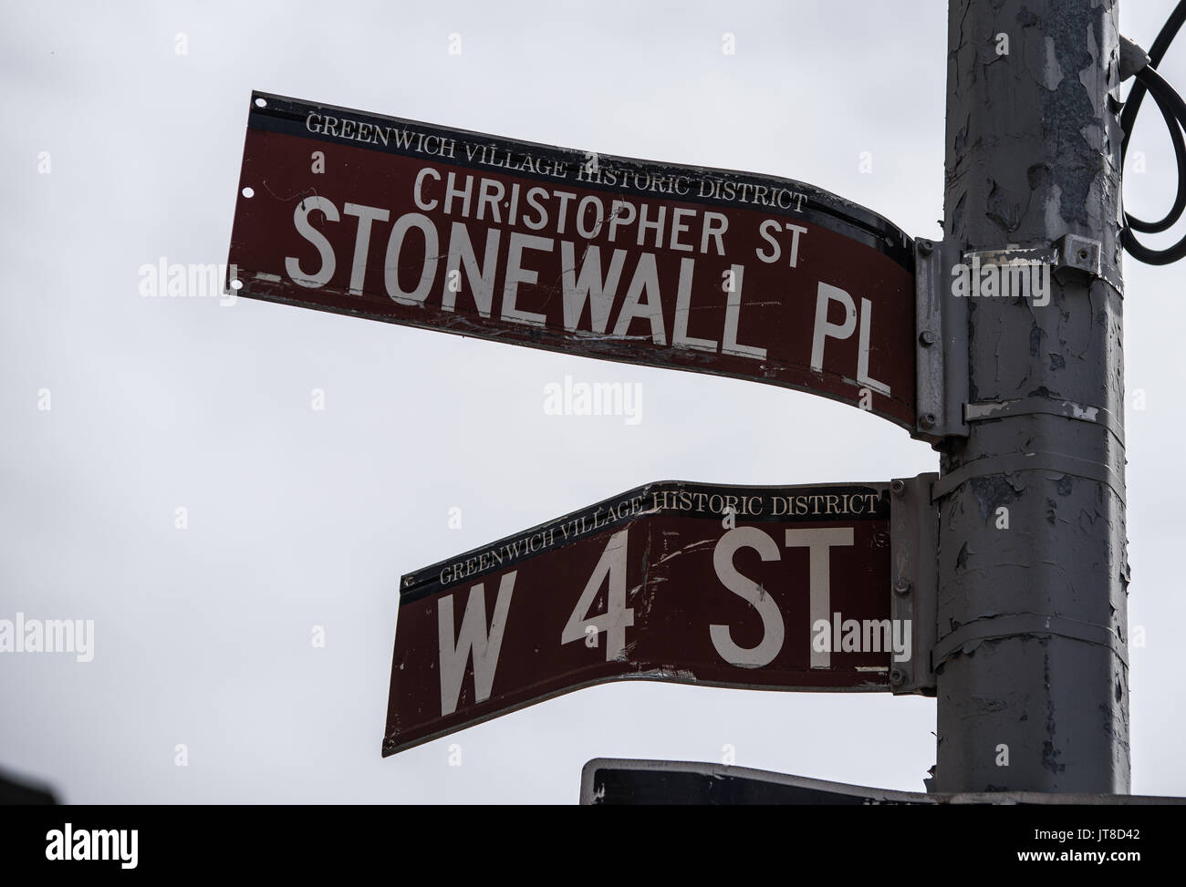 New York City, New York, USA. 6th Aug, 2017. The facade of the historic Stonewall Inn, where riots took place in - Stock Image