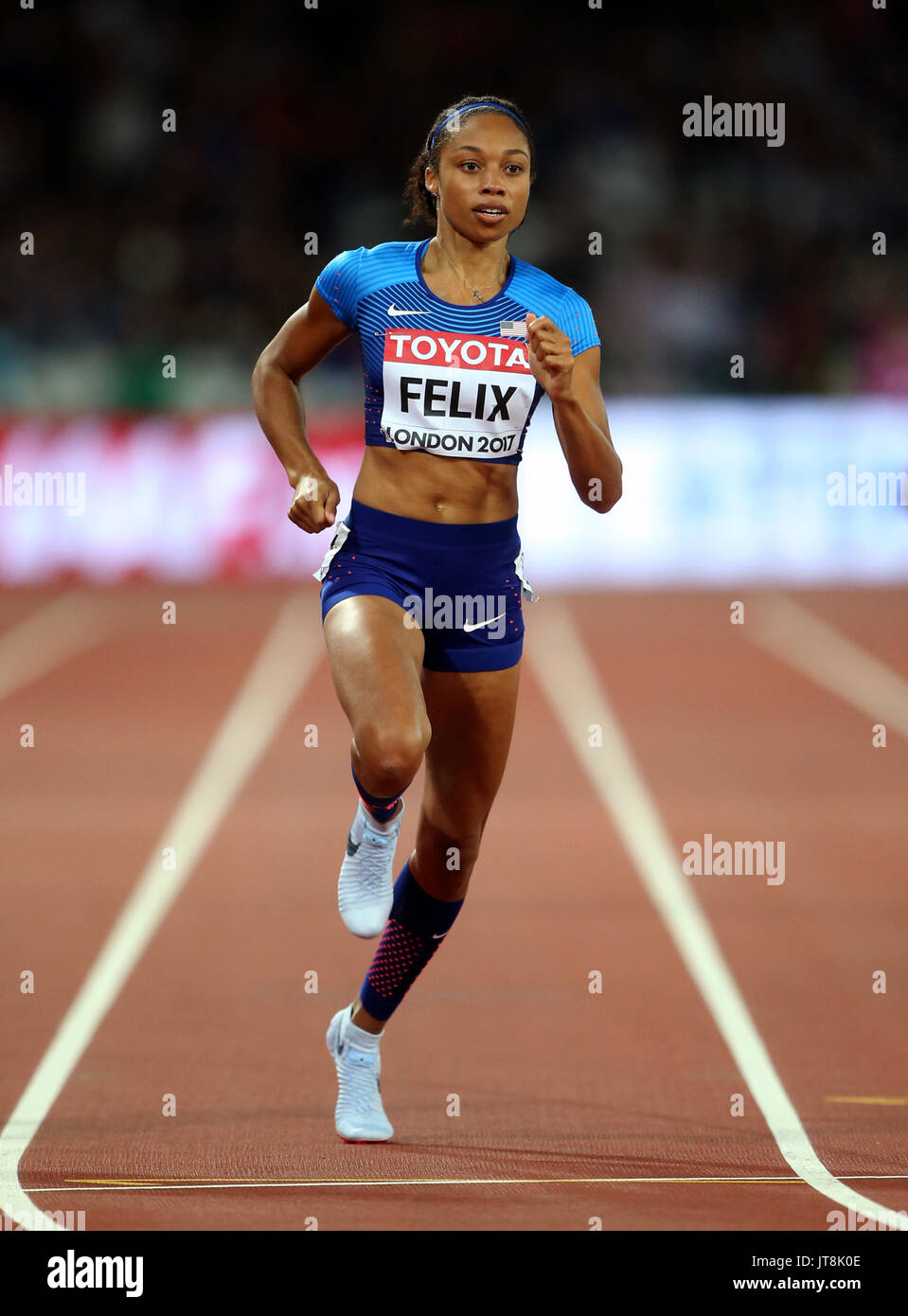 Allyson Felix 400 Metres World Athletics Championships 2017 London Stam, London, England 07 August 2017 Credit: Allstar Picture Library/Alamy Live News - Stock Image