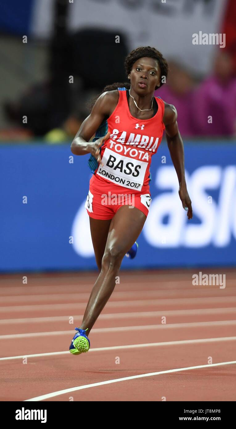 London, UK. 8th Aug, 2017.  Gina BASS (GAM) in the womens 200m heats. IAAF world athletics championships. London Olympic stadium. Queen Elizabeth Olympic park. Stratford. London. UK. 08/08/2017. Credit: Sport In Pictures/Alamy Live News - Stock Image