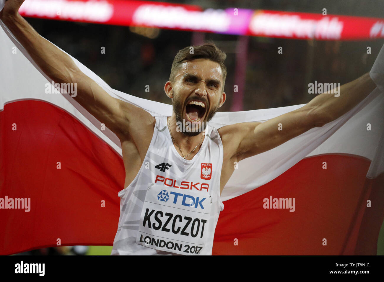 London, UK. 08th Aug, 2017. Polish athlete Adam Kszczot jubilates the bronze medal in the 800 meters final during the World Athletics Championships at the olympic stadium in London, United Kingdom, 08 August 2017. EFE/Lavandeira jr./Alamy Live News - Stock Image