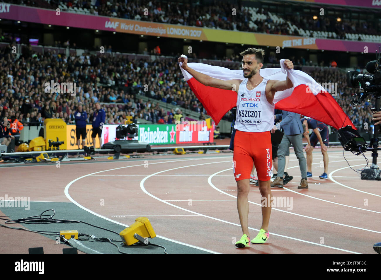 London, UK. 8th August, 2017.  Adam KSZCZOT representing Poland celebrating second place with spectators after the Men's 800m Final at the 2017, IAAF World Championships, Queen Elizabeth Olympic Park, Stratford, London, UK. Credit: Simon Balson/Alamy Live News - Stock Image