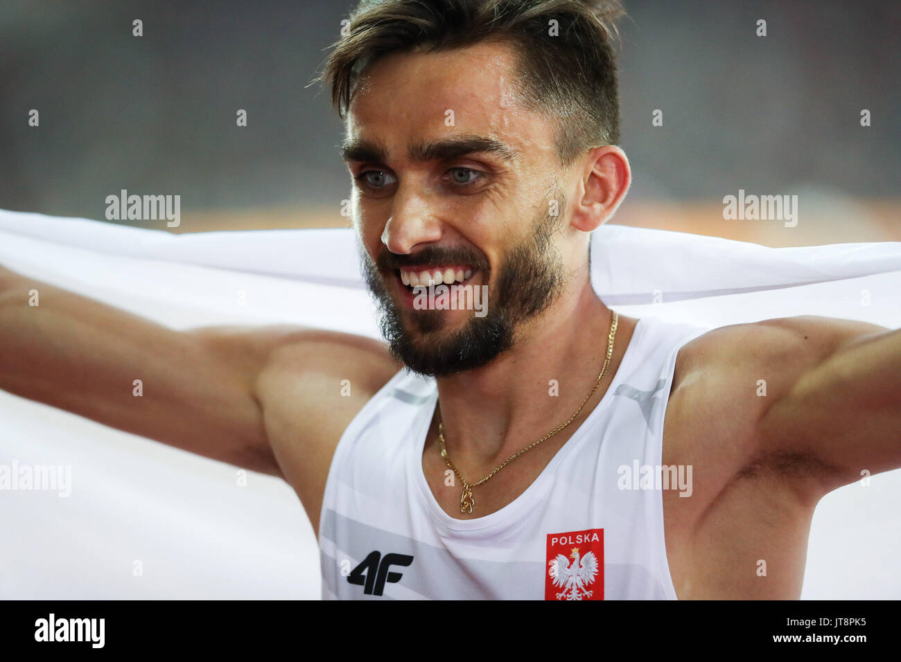 London, UK. 08th Aug, 2017. London, August 08 2017 . Adam Kszczot, Poland, runner up in the men's 400m final on day five of the IAAF London 2017 world Championships at the London Stadium. Credit: Paul Davey/Alamy Live News - Stock Image