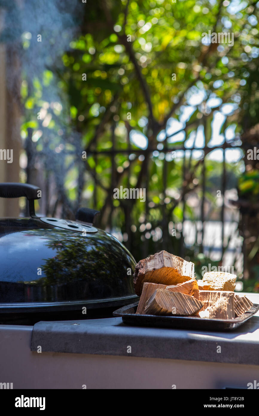Smoking outdoor barbecue with chunks of hickory wood on the side for use in smoking the food - Stock Image