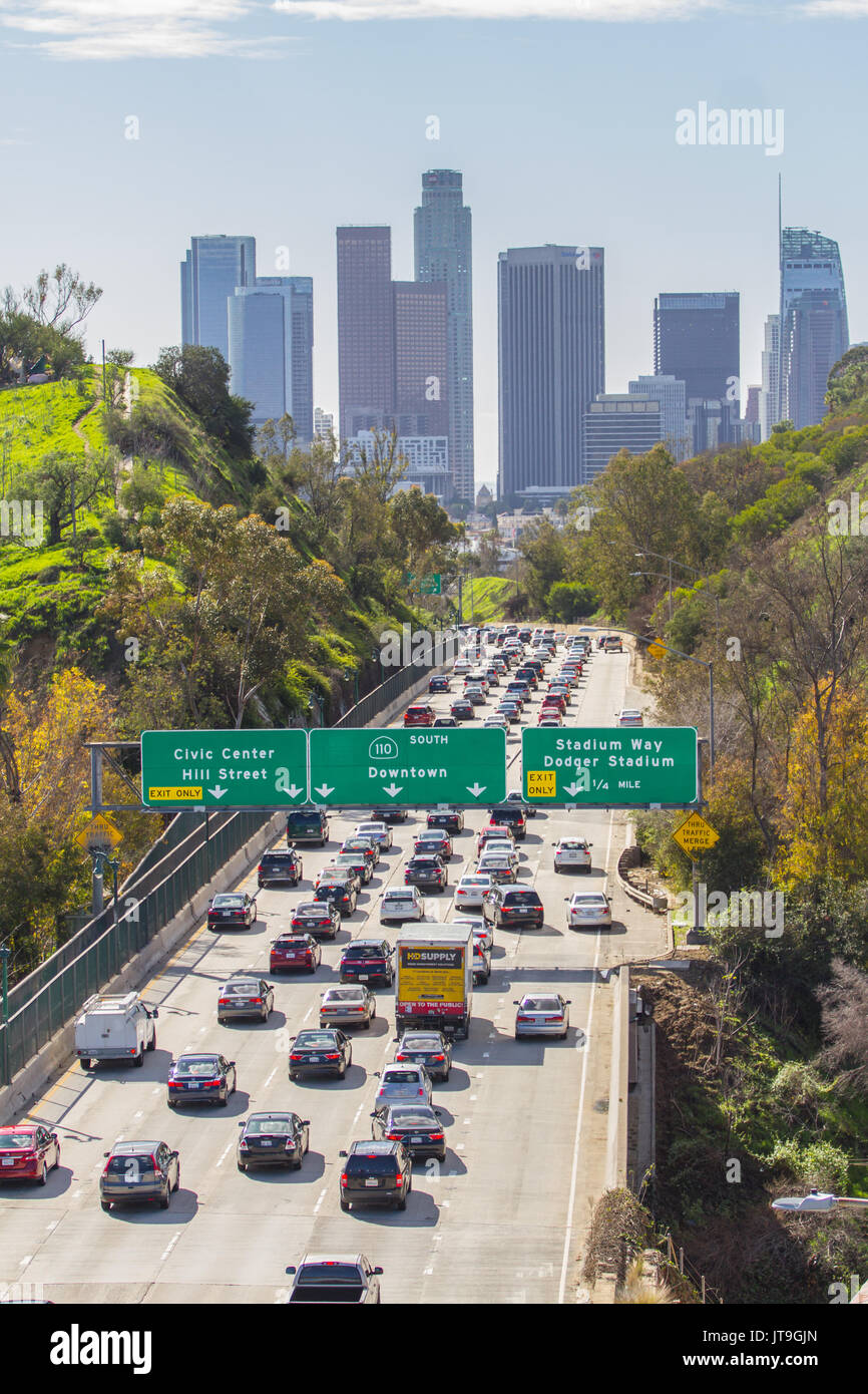 the skyline of downtown los angeles california los angeles is the