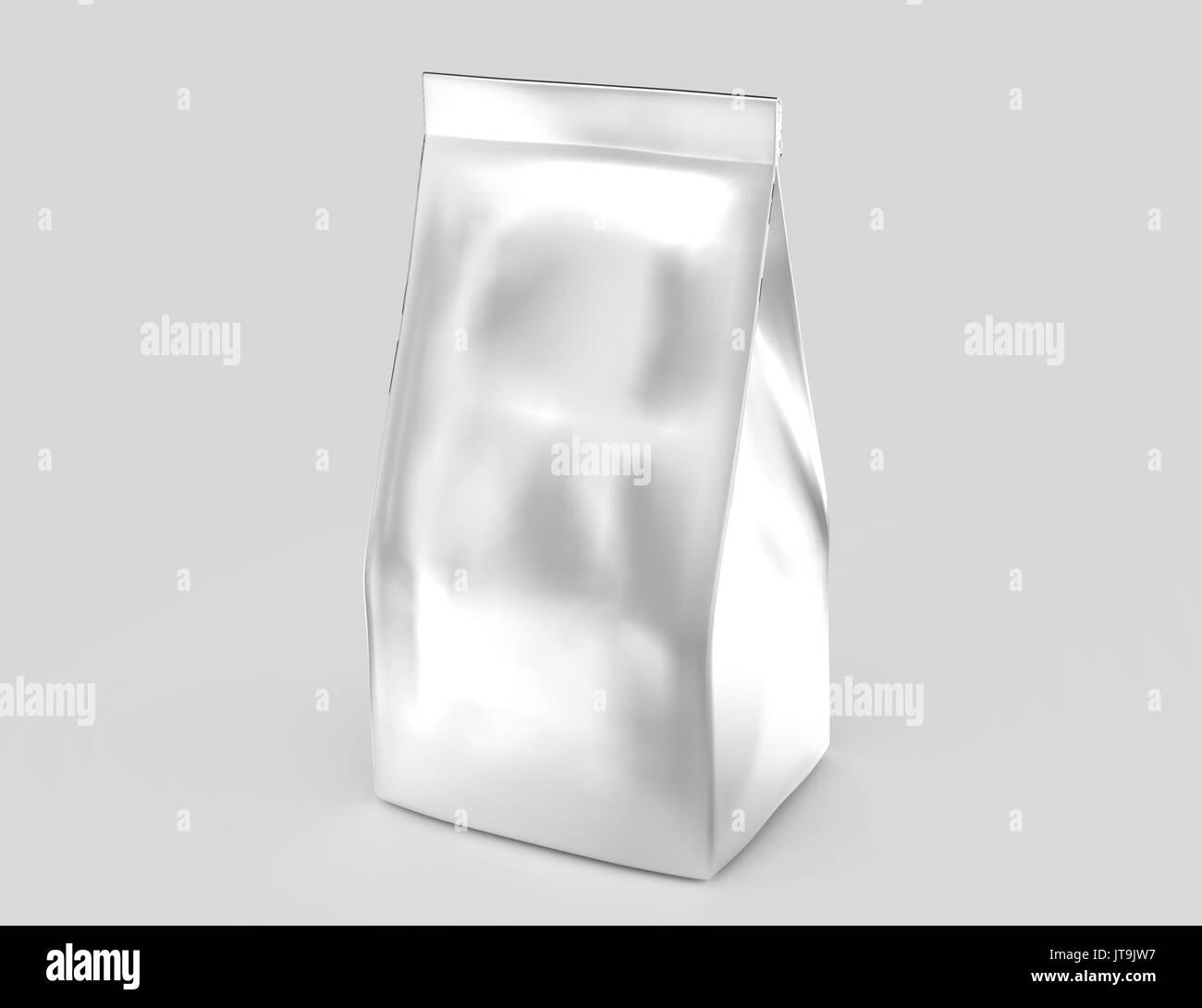 Silver coffee bean bag mockup, blank foil bag template in 3d rendering - Stock Image