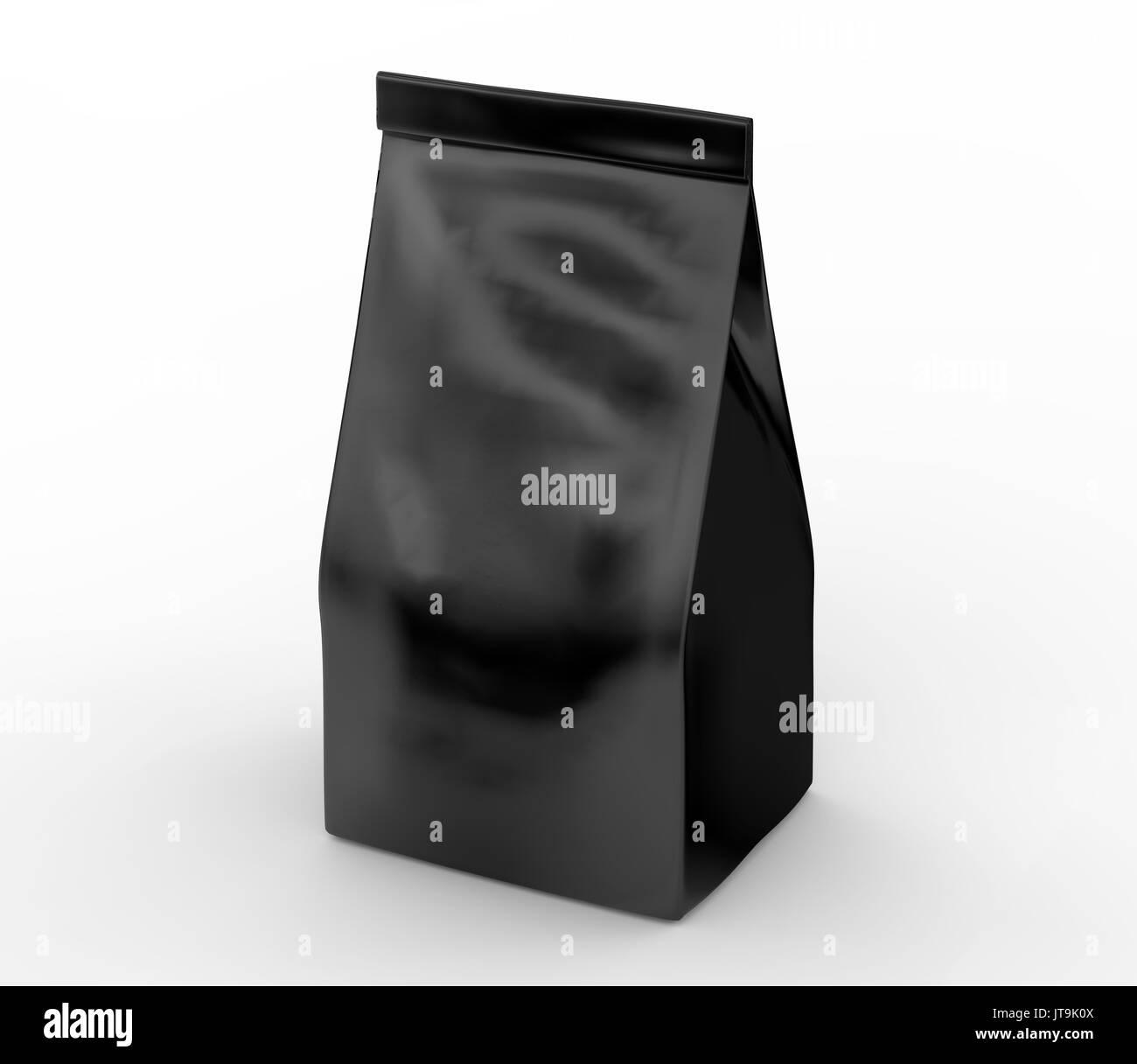 Black coffee bean bag mockup, blank foil bag template in 3d rendering - Stock Image