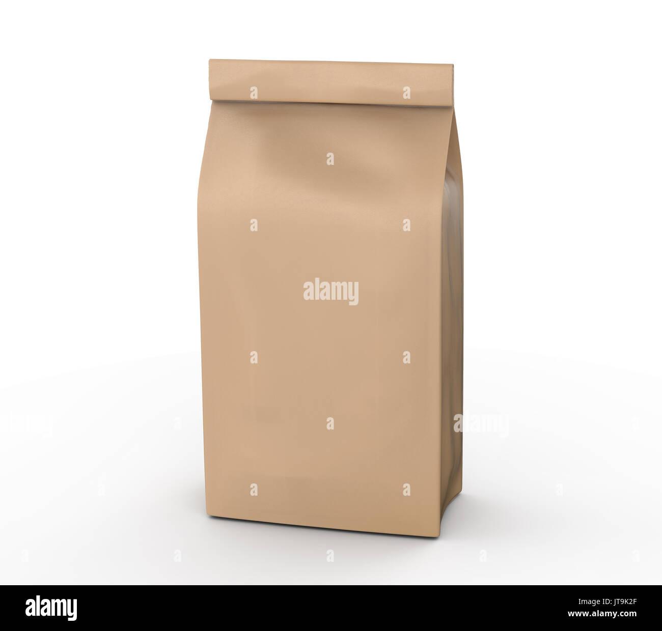 c02efb12 Craft paper coffee bean bag mockup, blank foil bag template in 3d rendering  - Stock