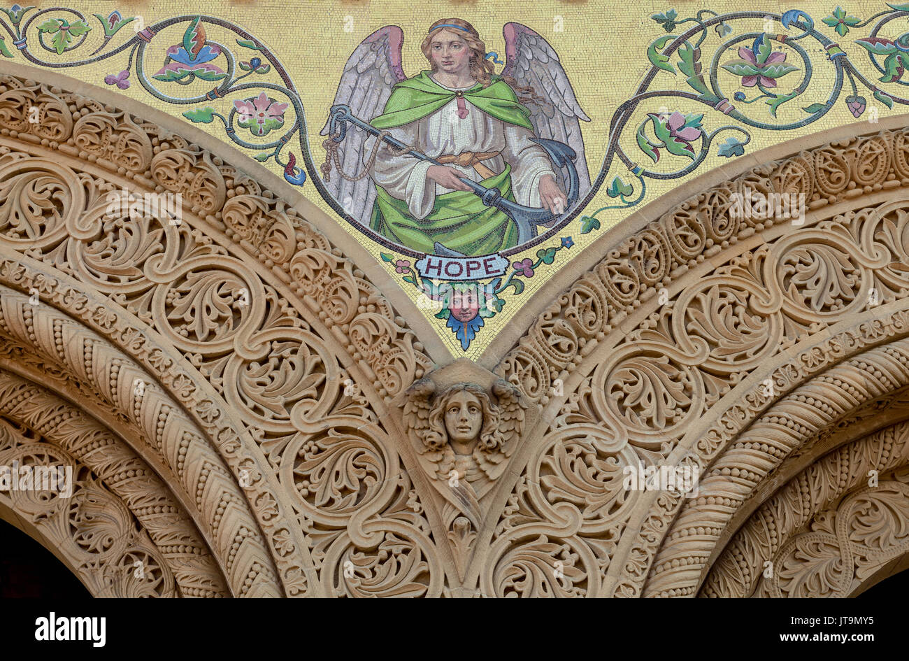 the painting of an Angel of Hope on the wall of the Memorial Church in Stanford University campus, Palo Alto, California. Stock Photo