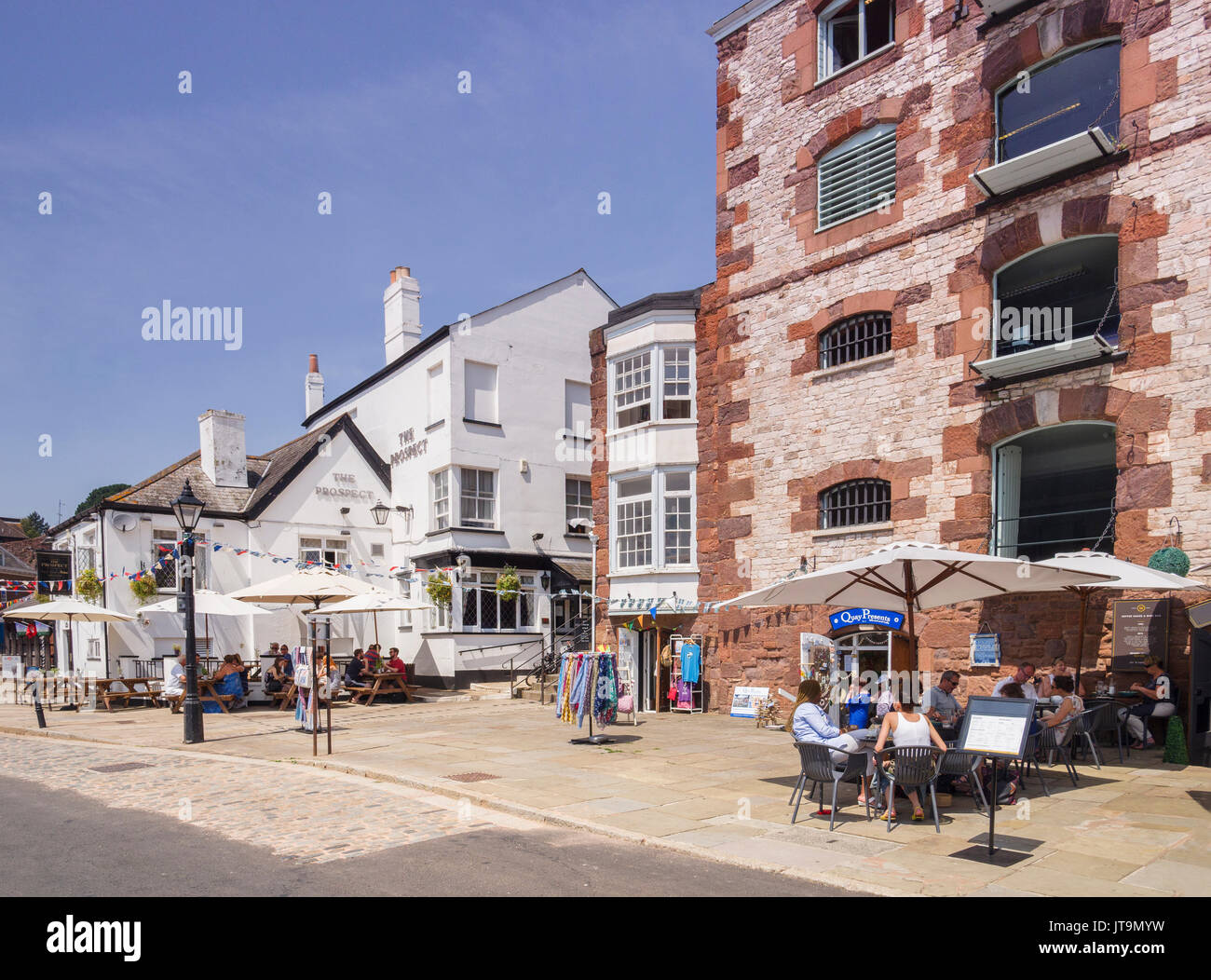 21 June 2017: Exeter, Devon, England, UK - Pubs and restaurants at Exeter Quay on a fine summer day. Stock Photo