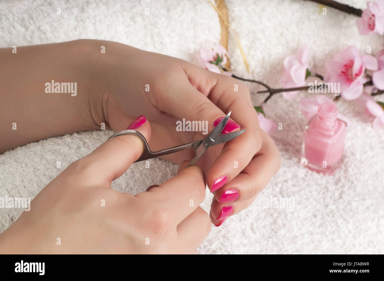 Close up view of nail treatment - Stock Image