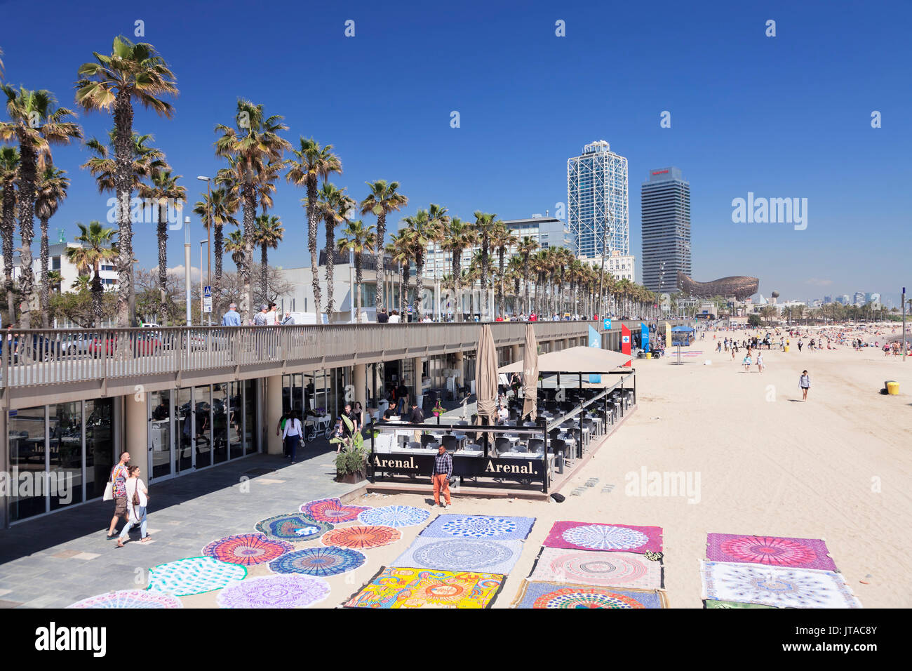 Barceloneta Beach, Port Olimpic, Mapfre Tower, Arts Tower, Peix, Fish sculpture by Frank Owen Gehry, Barcelona, - Stock Image
