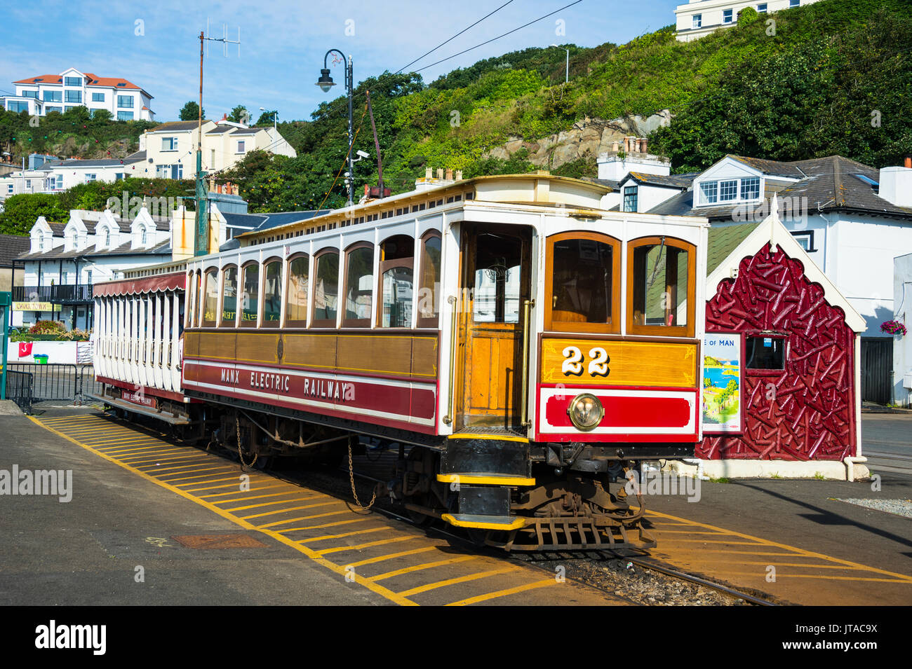 Old tram in Douglas, Isle of Man, crown dependency of the United Kingdom, Europe - Stock Image