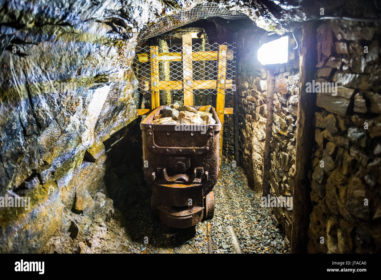 Mine shaft behind the Great Laxey Wheel, Isle of Man, crown dependency of the United Kingdom, Europe Stock Photo